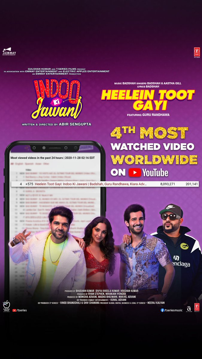 #IndooKiJawani's latest song breaking heels and milestones around the world. All thanks to you, #HeeleinTootGayi is the 4th most watched video worldwide! Tune in now and start grooving! Watch now -   @AdityaSeal_ #MallikaDua @AbirSenguptaa @Its_Badshah