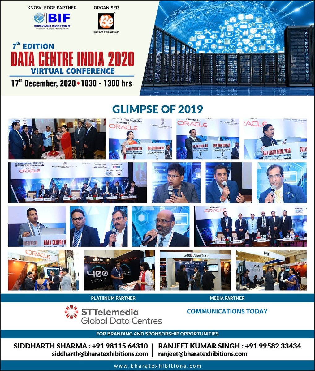 STTELEMEDIA GLOBAL DATA CENTRES joins as PLATINUM PARTNER at 7th edition of Data Centre India 2020 Virtual Conference on 17th December 2020 at 1030 - 1330 Hrs. #datacenter #datacentre #sdn #softwaredefined #sdwan #clouddata #branding #hybridcloud #bharatexhibitions #enterprise