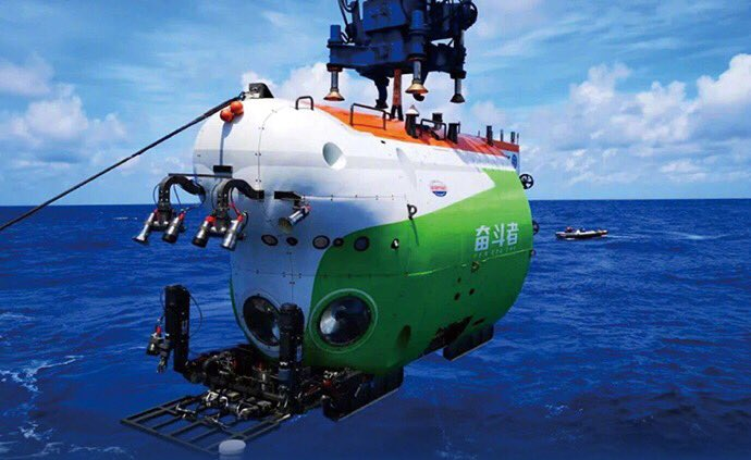 """""""#Fendouzhe,"""" China's manned submersible, successfully ended its deep-sea diving operation on Saturday. The submersible, which name means """"striver"""" in Chinese, dived to a depth of 10,909 meters in the Mariana Trench and returned to the Nanshan port in Sanya City at 8:30 am BJT."""