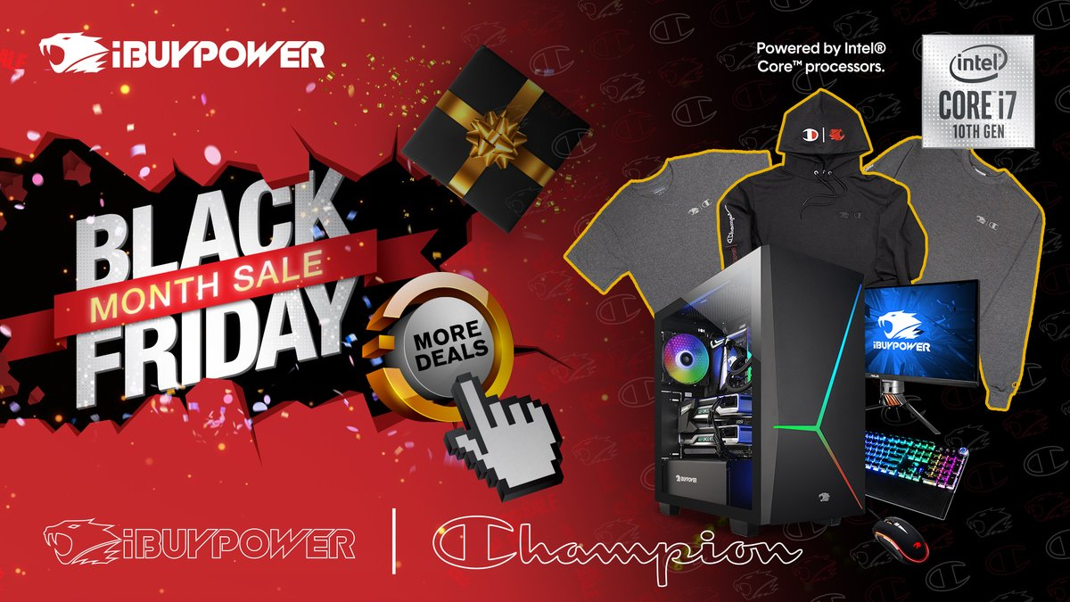 Sneaky - Check out @iBUYPOWER's Black Friday exclusive deals and snag a new iBUYPOWER x @championUSA loungewear piece with purchase of select custom configured systems with 10th Gen @Intel Core Processor.