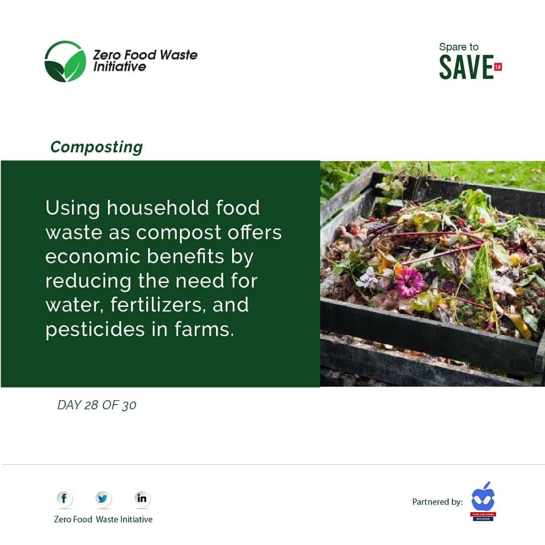 DAY 28 OF 30  COMPOSTING  Composting is a way of reducing household food waste. It is beneficial to environmental sustainability, food security, and sustainable agriculture.   #SparetoSave #Endfoodwaste #endhunger #SDG2 #SDG12 #FAO #Zerofoodwasteinitiative https://t.co/ewPXNU4Pch