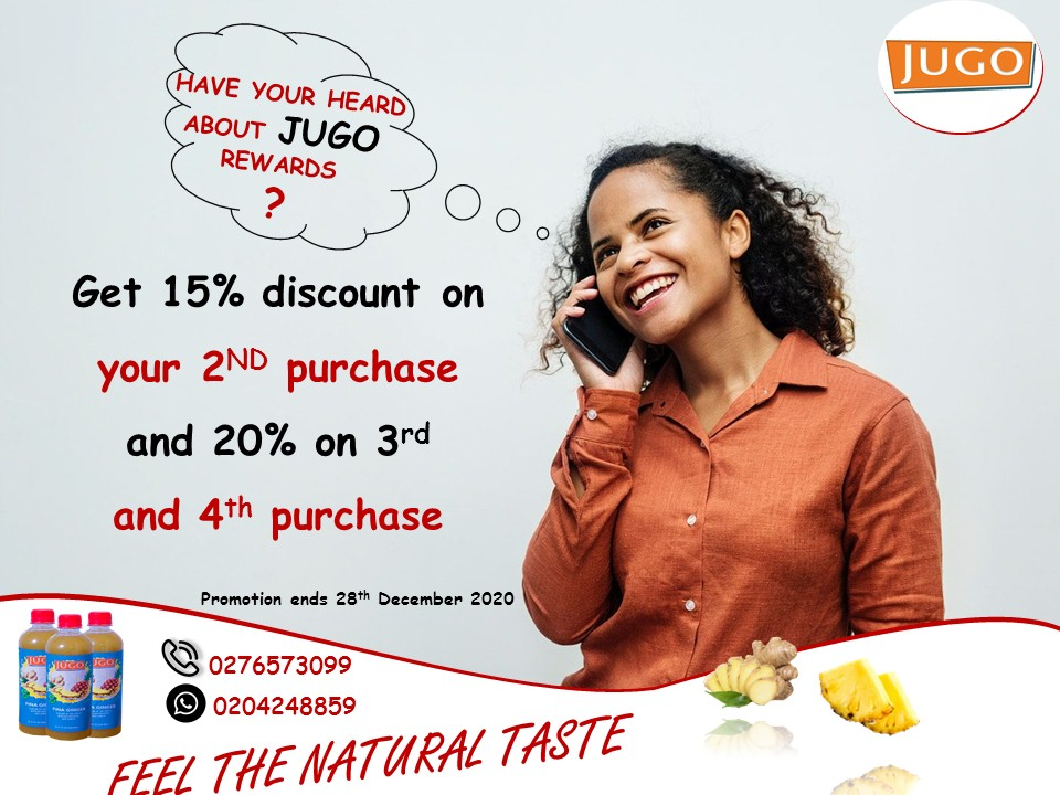 SAVE BIG WITH JUGO THIS FESTIVE SEASON! Get an instant 15% discount on the 2nd carton purchase and a further 20% discount on the 3rd and 4th cartons. This promotion ends 28th December, 2020  #JUGO #FeelTheNaturalTaste  #pineapple #ginger #juice #fruits https://t.co/ivXA5HrtZV