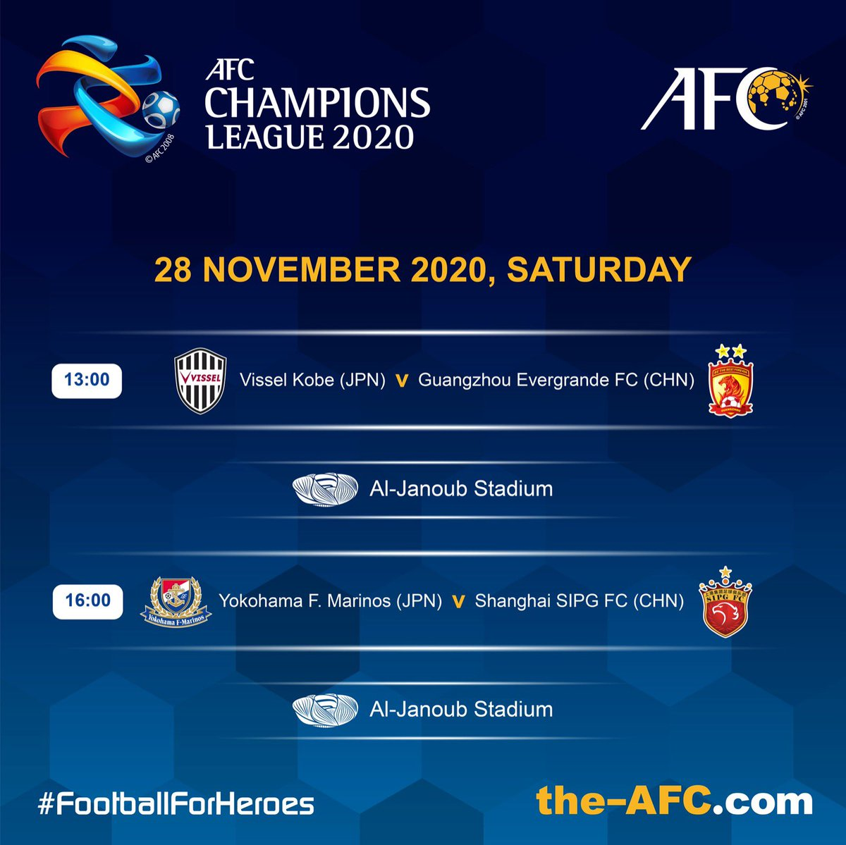 ⚽️ #ACL2020 East | Today's Matches  #FootballForHeroes