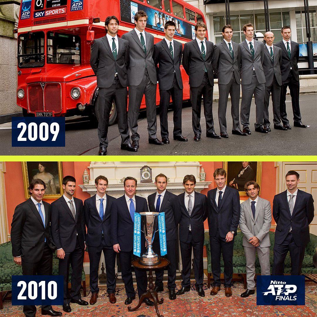 Las dos primeras y las dos últimas ediciones de las #NittoATPFinals en Londres 😭   ¿Reconoces los jugadores en común en las 4 imágenes? 😉 https://t.co/cuUBQvlf6r