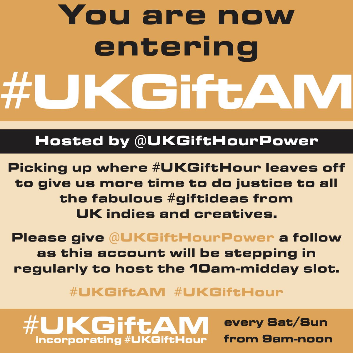 You are now entering #UKGIftAM! As you know, @UKGiftHour is usually running behind so when that account catches up to 10am, hosting will be taken over by @UKGiftHourPower. Keep using either hashtag to spread the #shopindie message #supportsmallbusiness #SundayMorning #giftfinder