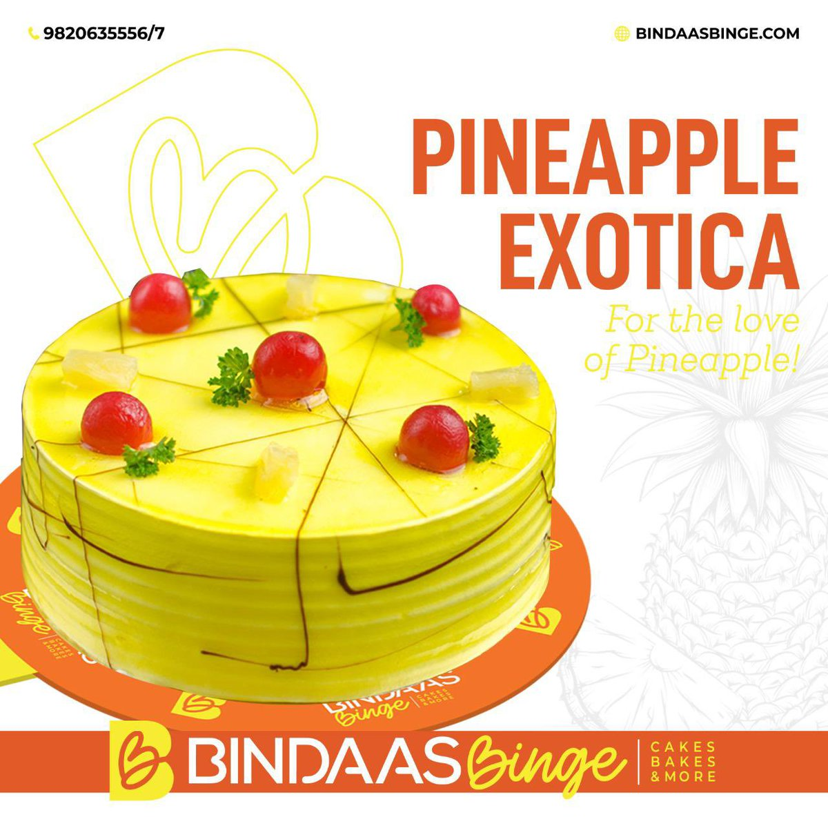 Soft and spongy base infused with the flavours of Pineapple. With every bite you take, there's a burst of flavours in your mouth which is sooo droolworthy. #birthday # birthdaycake #pineapplecakes #pineapplecakes🍍 #cake #cakes #pineapple #loveforsweet #sweet #bindaasbinge https://t.co/JHOb48TwLn