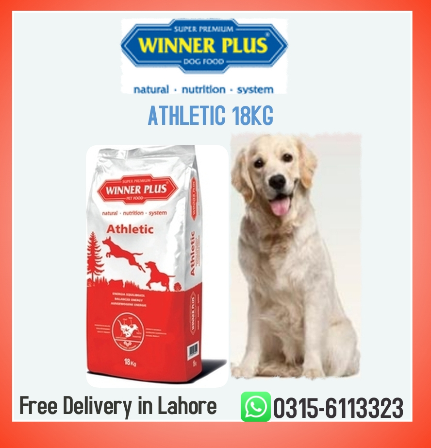 WINNER PLUS ATHLETIC 18kg Protein 26% Fats 18% Fibre 2,20% Calcium 1,50% Phosphorus 1,10% Acids Omega-3 and Omega-6 Vitamin E WhatsApp 0315-6113323  #pets #puppies #doglife #doglover #dogsarefamily #puppylove #puppies #dogs #petroencaida #PUPPIES #pets #food #petfood #dogoftheday
