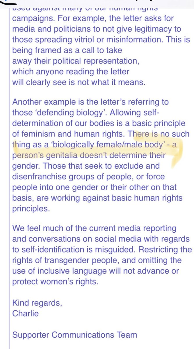 This is a reply by Amnesty International to a complaint about their recent activity, including calling women womxn and saying political representation should be removed from women if they dont believe in gender ideology: There is no such thing as a biologically female body