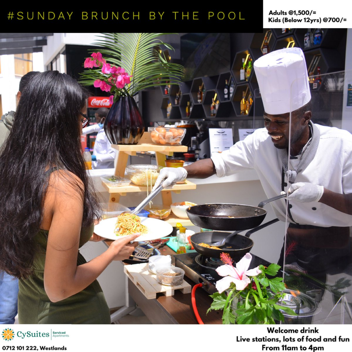 One more Sunday to go!   Call 0712 101 222 to enjoy our Sunday Brunch Offer @ 1,500/= for adults and 700/= for kids below 12yrs.   NB: Brunch charges are exclusive of swimming pool charges.  #cysuitessundaybrunch  #brunchinthecity #nairobifoodie #iamnairobian #sundayvibes