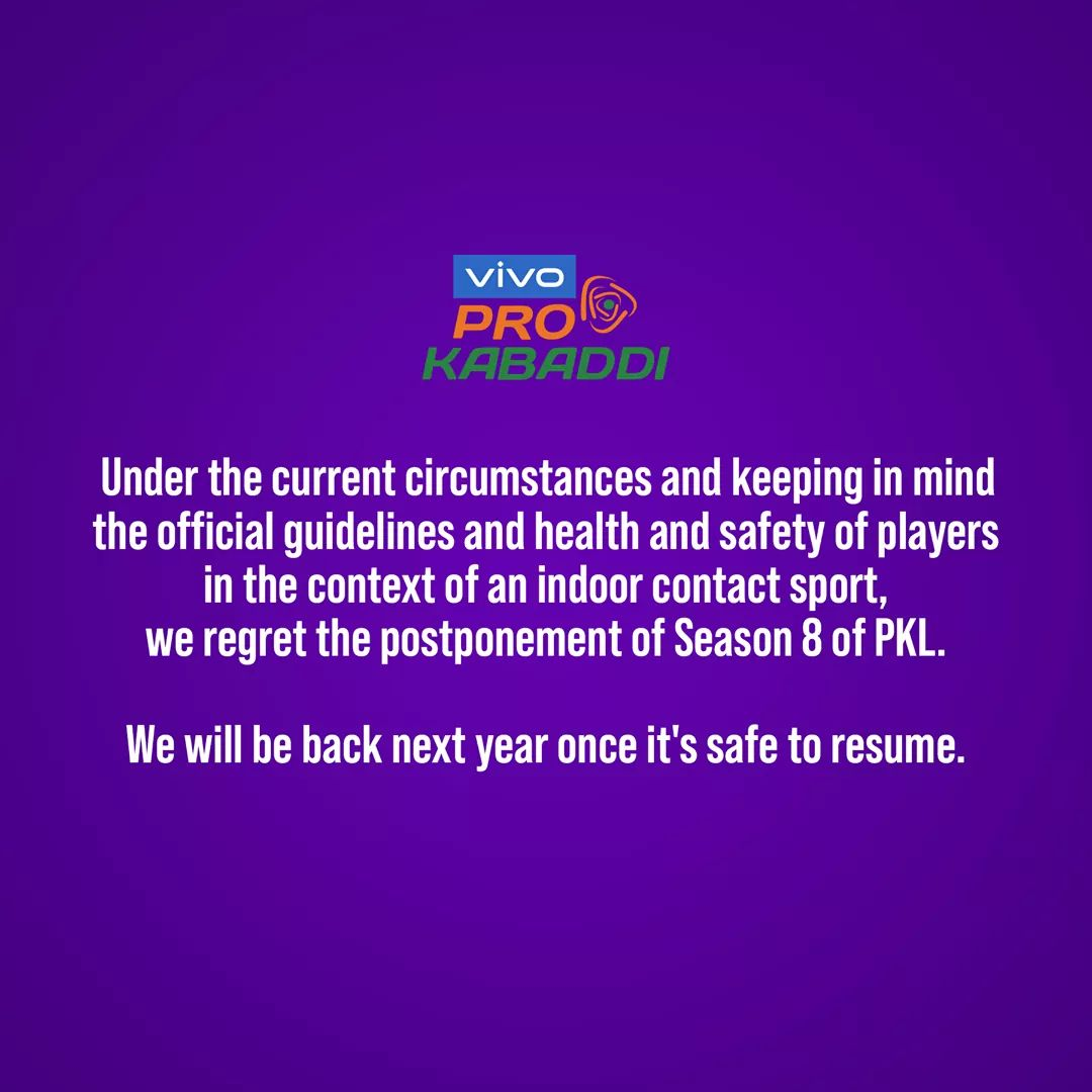 This decision by @ProKabaddi to safeguard their players is highly appreciated. We hope our fans understand this situation and will keep supporting us always! 🙏🏻