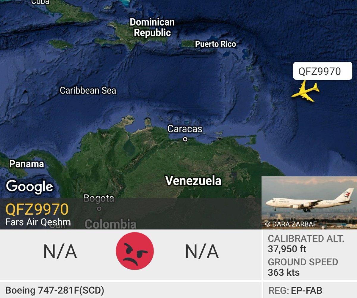 Anteayer salió el EP-FAA de #Venezuela y #ahora se aproxíma el EP-FAB al país, sobrevolando al Este de Barbados en dirección Suroeste. Ambos aviones de carga pertenecen a Qeshm Fars Air, sancionada por tráfico de armas y sus relaciones con #IRGCTERRORISTS  #QFZ9970 https://t.co/Py39QYhrJP https://t.co/zRZgoX1j3P