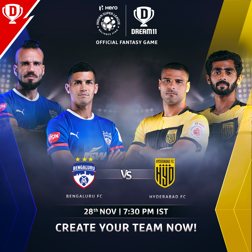 It will be a face-off between two competitive sides, as @bengalurufc and @HydFCOfficial get ready to meet in the #HeroISL tonight ⚡  Download the app and make your #Dream11 now. Click: . #LetsFootball #BFCHFC @IndSuperLeague