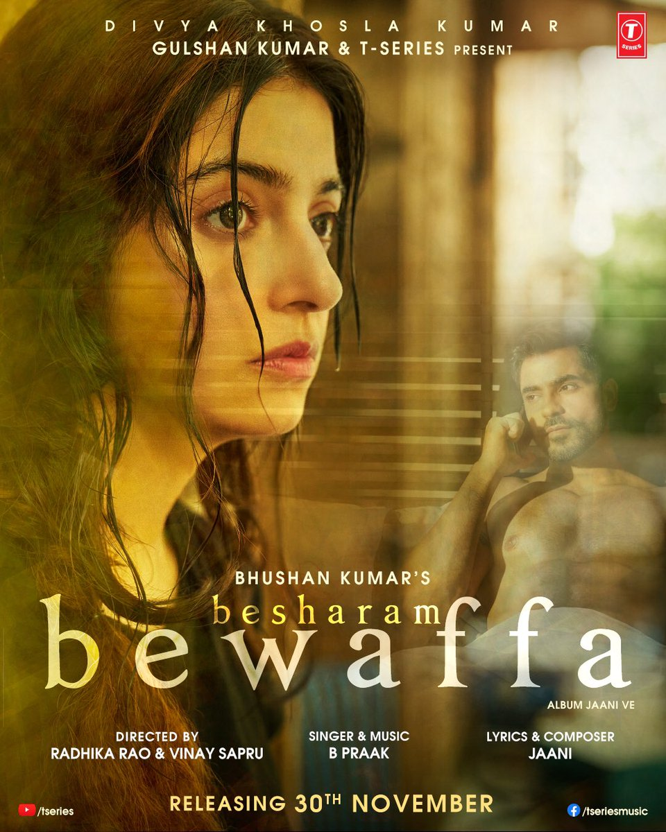 See how heartbreak is the hardes in this world to deal with! #BesharamBewaffa teaser out today at 4 pm! Song releasing on 30th November! Stay tuned! @iamDivyaKhosla  @Bpraak @yourjaani @TSeries #BhushanKumar @SapruAndRao @TheGautamGulati