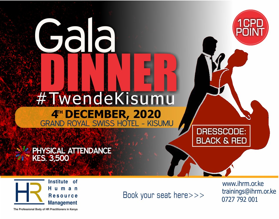 Let's end 2020 in style and paint Kisumu Black & Red as we mark the Annual Gala Dinner. Save the date and prepare your dancing shoes.  You can't afford to miss #TwendeKisumu   NB: All Ministry of Health COVID -19 Protocols will be observed    Book here: https://t.co/bwZmNLrRKE https://t.co/ddVTzdybjt
