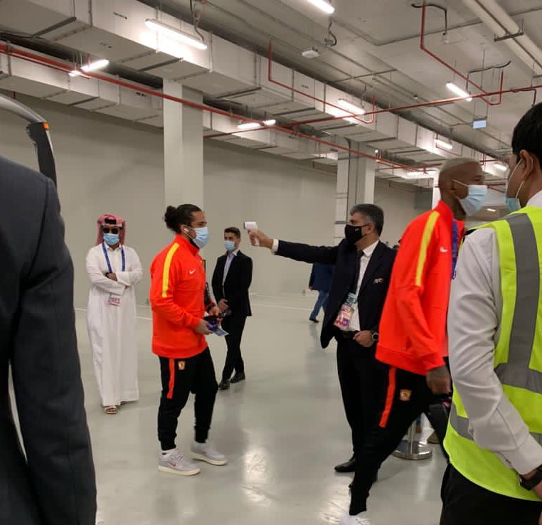 Pre-match temperature checks for players and officials at Al Janoub Stadium, ahead of the game between Vissel Kobe and Guangzhou Evergrande   #ACL2020