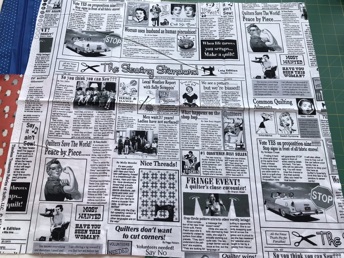 I treated myself to this great, sewing themed, newspaper fabric! The articles and journalists are sewing themed. I particularly find the woman who used her husband as a human pincushion by Jill the ripper amusing. 🤣 #sewing #fabric