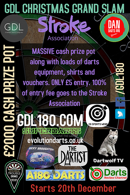 The GDL Christmas Charity Grand Slam of Darts begins on 10th December.  £5 DIRECT to charity  🏆 2 grades 🏆 2 prize funds totalling £2000 🏆 Bonus prizes  Get involved, it's going to be great! https://t.co/tE5GcukT9v  Please retweet and share with your darts friends and family https://t.co/GuRPCXPHg7