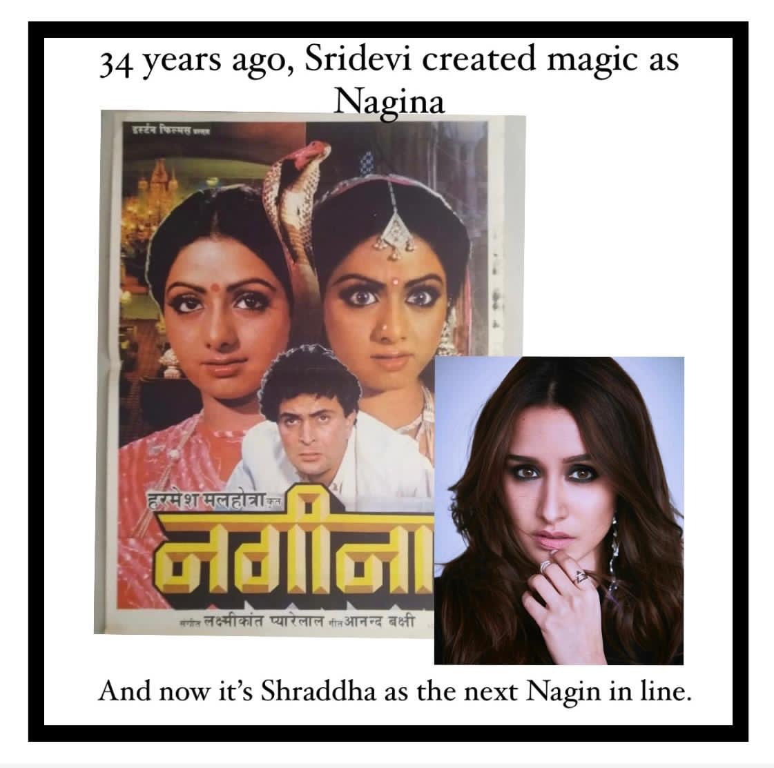 Sridevi's Nagina released on November 28, 1986 and she's been the most iconic #Nagin ever since. Can't wait for @Shraddhakapoor to recreate the magic as the 'millennial' Nagin. All the best to the team!! @furiavishal  @nikhil_dwivedi @saffronbrdmedia #Shraddhakapoor