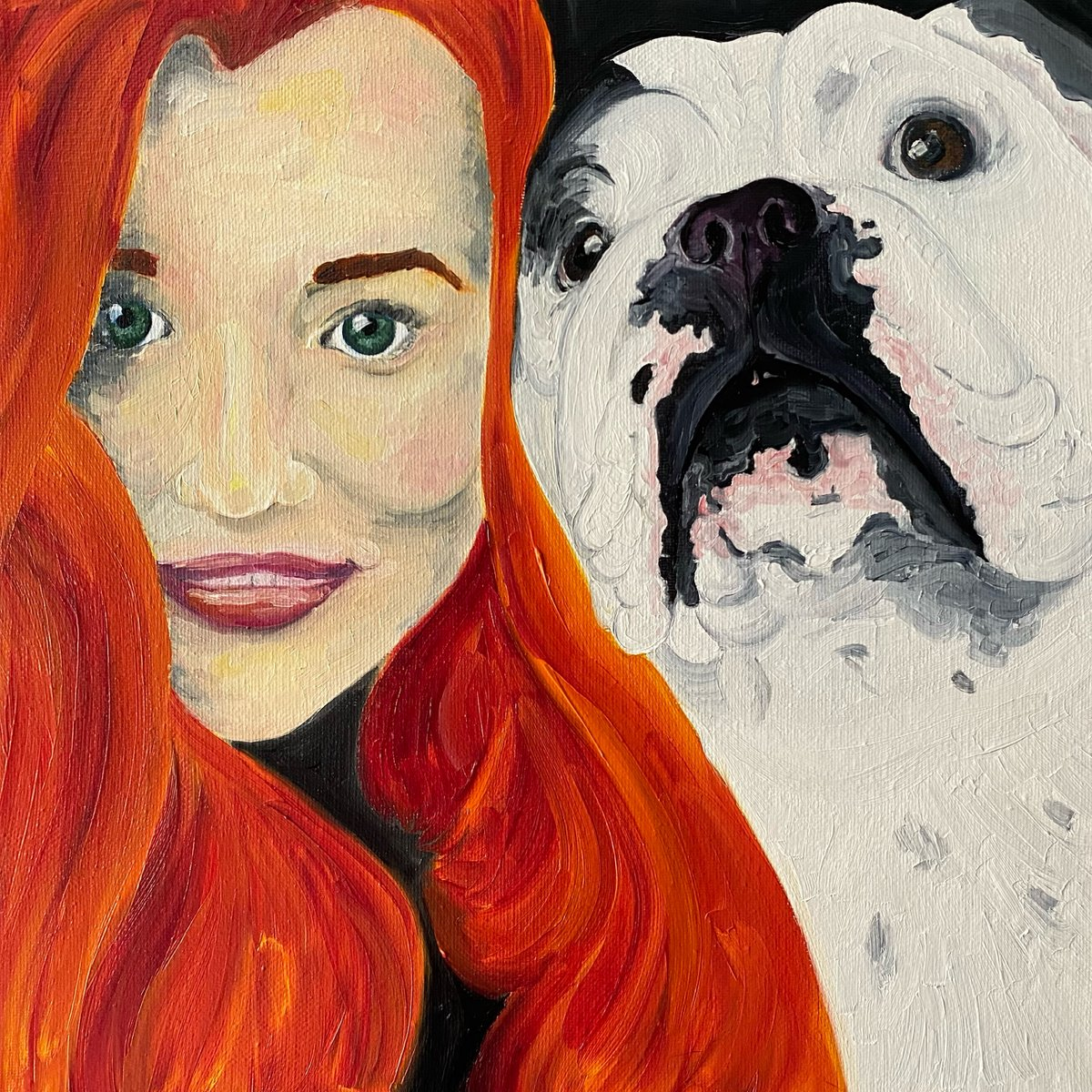 Jess and Pearl in the second ever human portrait to appear here! It's also the second portrait of pearl 😍  Are you tempted to see what your pet portrait would be like?  ​#art #bulldogs #dogs_of_instagram #puppies #puppiesofinstagram #puppylove