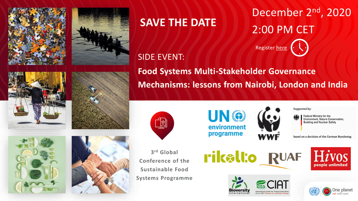 Tune into the #SFSPConference side-event from @WWF @hivos @ruaf @BiovIntCIAT_eng @rikolto & @UNEP to learn about best practices for #FoodSystems Multistakeholder Governance Mechanisms.  📅 2 Dec 🕑 2pm CET ✍️