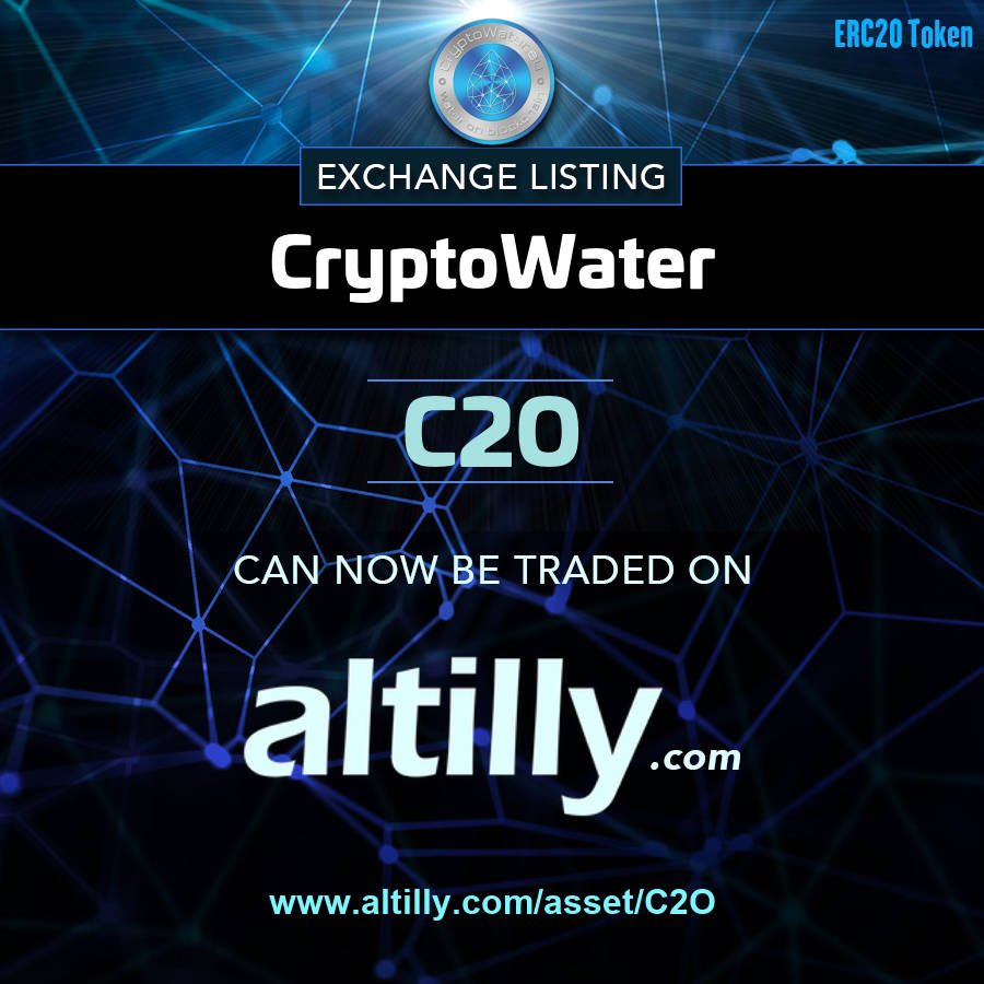 #C2O is paird with #ETH #XQR and #USDT on @altillycom . Get on board https://t.co/fefU6M6Z1m #CryptoWater #CryptoMarkets #ICO #IEO #ITO #Crowdfunding #SeedRound #WaterOnBlockchain https://t.co/EvvSQqBj8Q