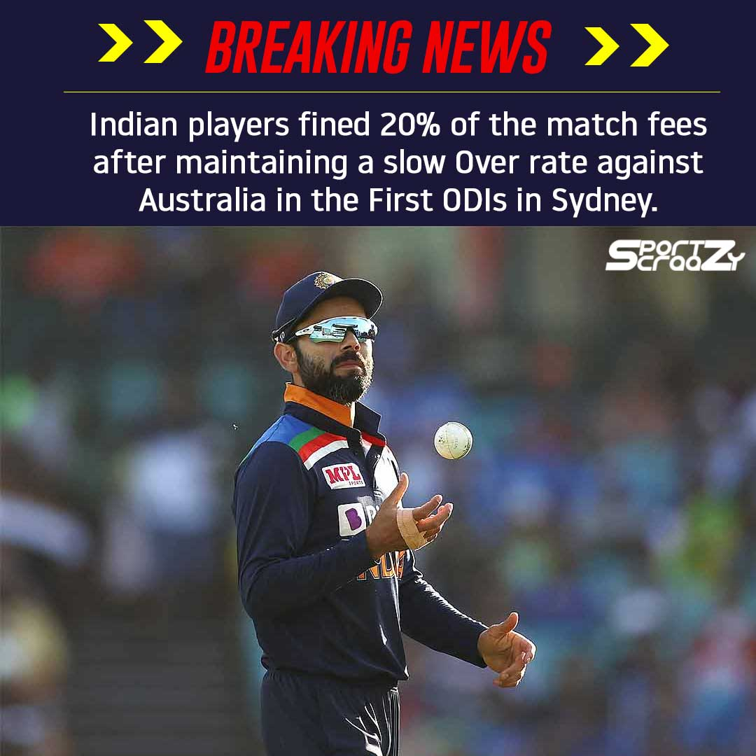 Indian players fined 20% of the match fees after maintaining a slow Over rate against Australia in the First ODIs in Sydney. #INDvAUS  #TeamIndia  #BCCI #ICC #cricket #AUSvIND  #1stODI #Sydney #MCG