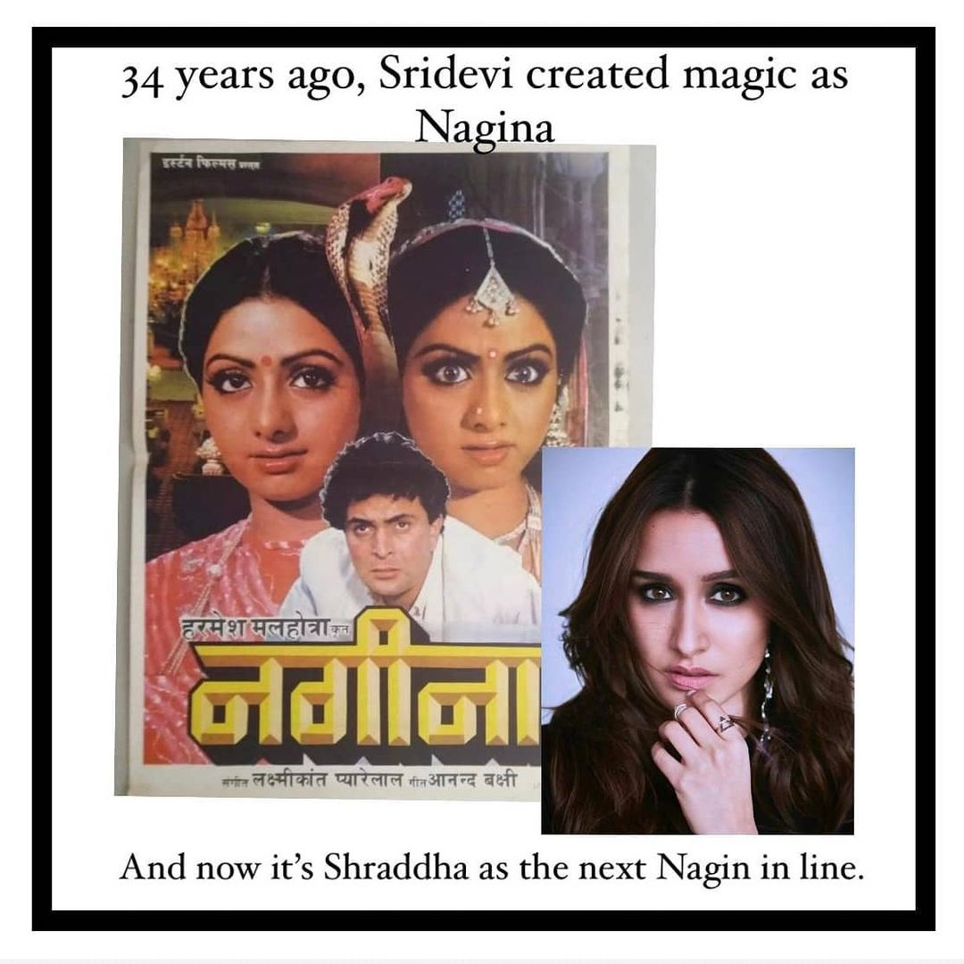 Nagina released today, 34 years ago and Sridevi's portrayal is still imprinted on our minds Now, @shraddhakapoor is all set to play #Nagin