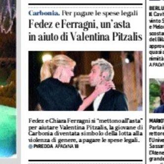Valentina #Pitzalis è stata completamente sfregiata con il cherosene dall'ex: @Fedez e @ChiaraFerragni organizzano un'iniziativa per sostenerla e aiutarla a pagare le spese legali. #primapagina @UnioneSarda https://t.co/mHzUjdoIjG