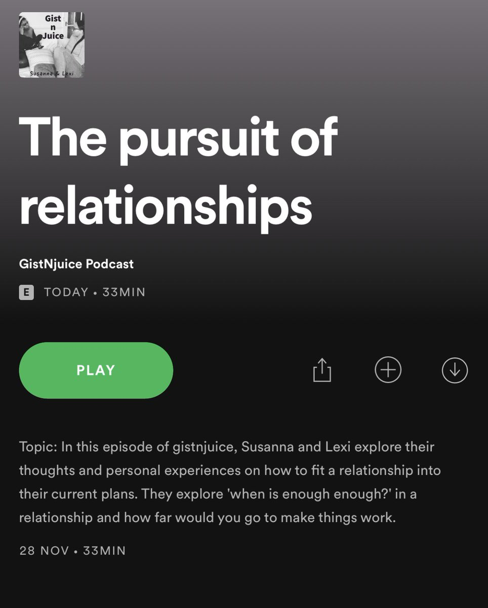 NEW on Spotify, The pursuit of relationships https://t.co/FvCNlfUGEM #podcast #podcasting #spotify #podcasts #podcastlife #podcaster #youtube #love #comedy #itunes #podcasters #applepodcasts  #podcastshow #entrepreneur #newpodcast #motivation #spotifypodcast #repost #gistnjuice https://t.co/ESEf4HrQa1