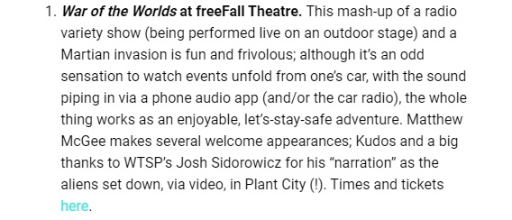 Thanks @JoshWTSP!! Only one more week of shows after this weekend.