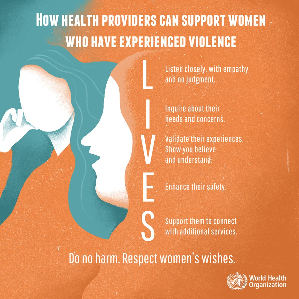 Health providers can support women who have experienced violence by using the LIVES model to provide survivor-centered care:  L isten I nquire V alidate E nhance S upport   👉    #EndViolence #16days