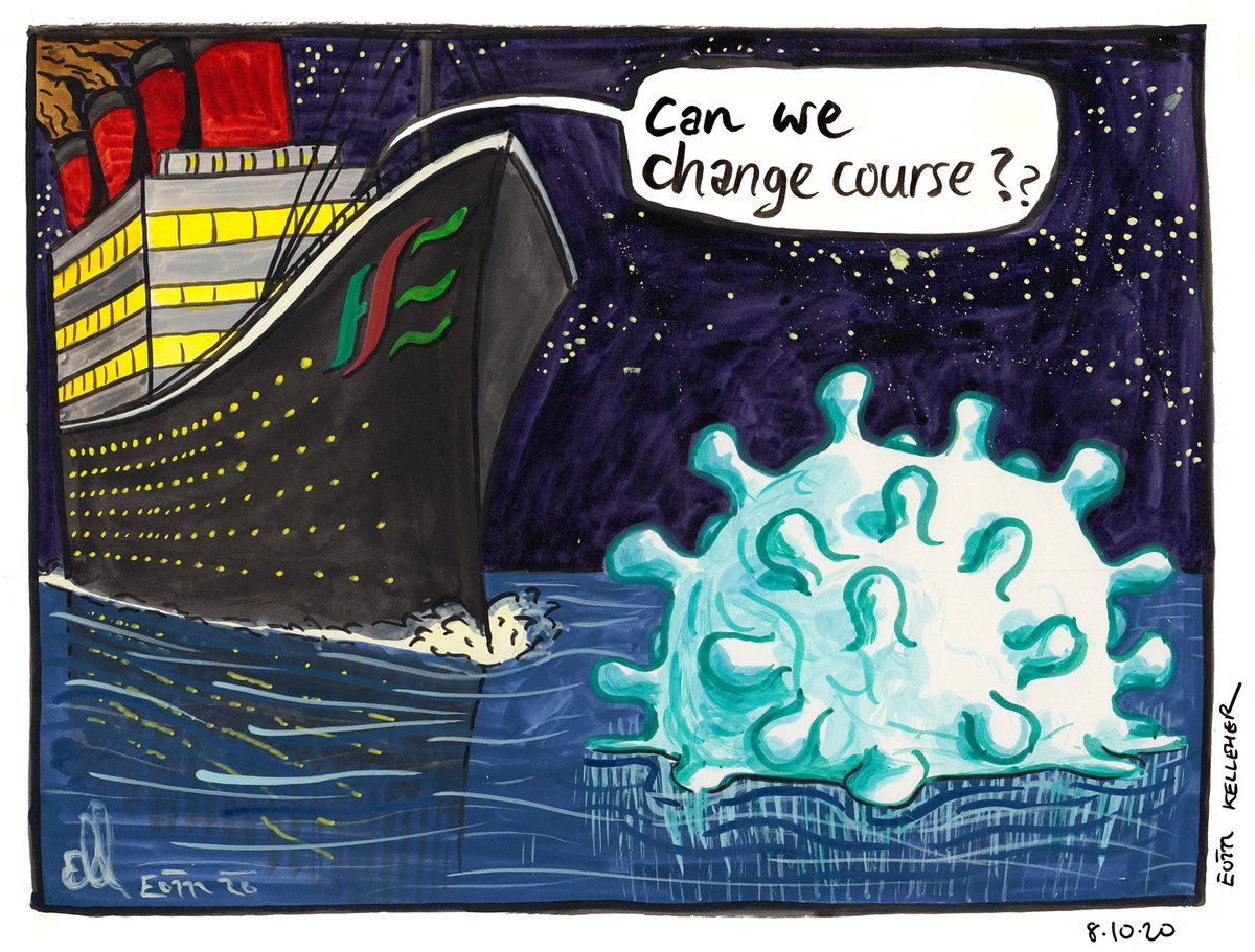 We avoided disaster in November thanks to restrictions, but our failure to do anything (like fund public health...) to prevent the inevitable third wave we face in December & January is like turning around the Titanic to have another pass at the iceberg... #covid19ireland