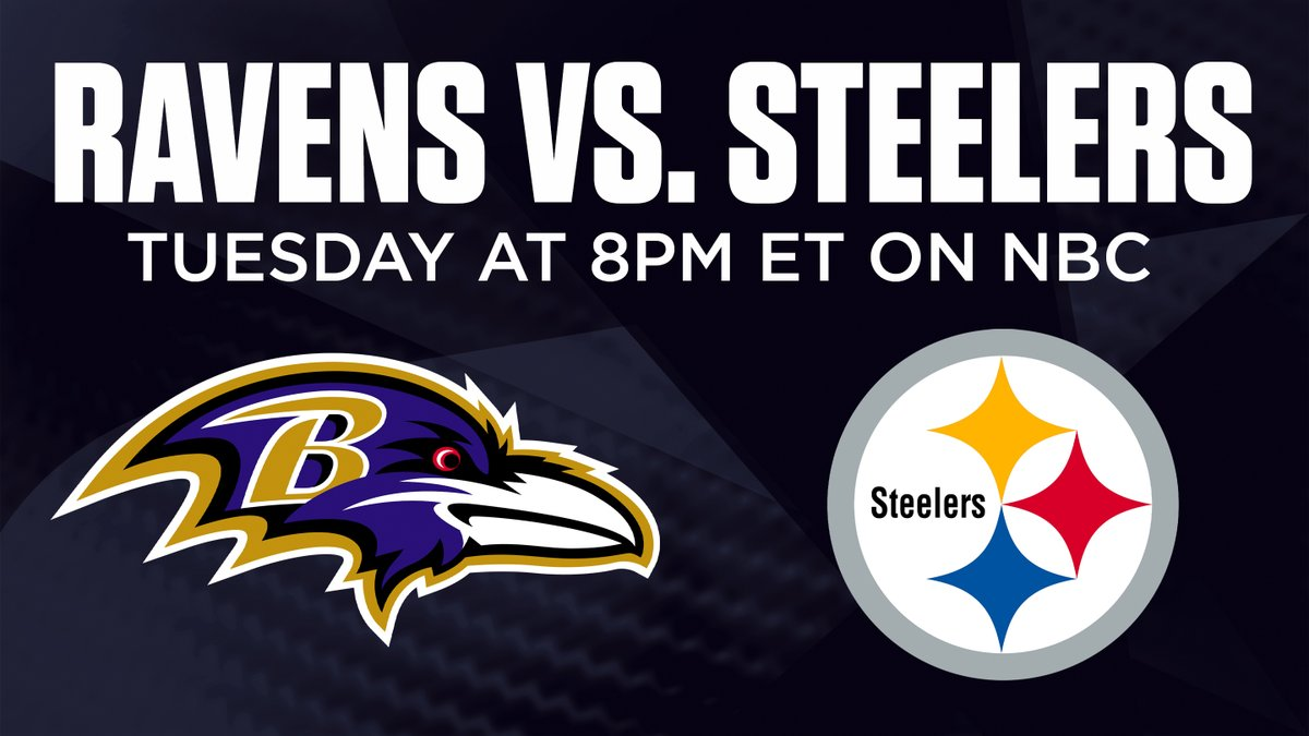 We've got your Tuesday Night plans 💪  @Ravens. @steelers. NBC.