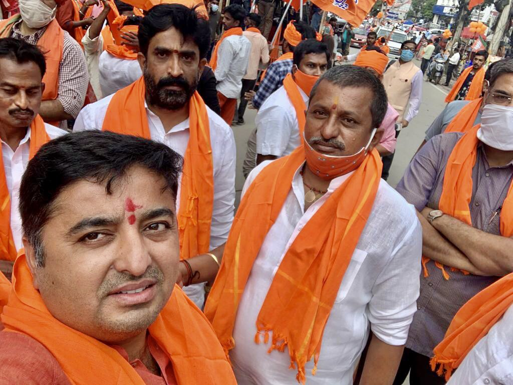 Hyderabad is eagerly waiting for Bhagwadhari Honble CM Shri @myogiadityanath Ji for the maharally of #GHMCElections2020 The enthusiasm among the people clearly indicates their will to make @BJP4India win. #GHMCWithBJP