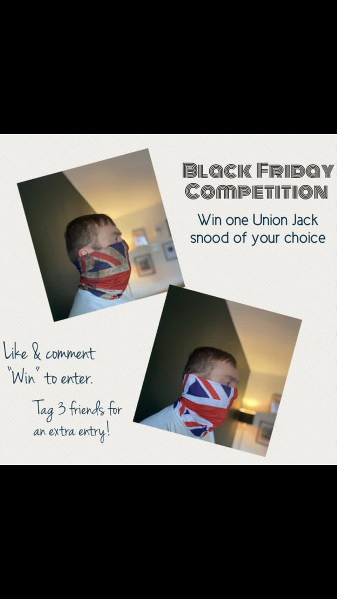 #CompetitionTime #WINNER to be announced 7pm Monday.  #snood #unionflag #win #competitions Instructions below.  Link to both styles here - https://t.co/wvJtKKBcZD https://t.co/WSGHbMT4yh