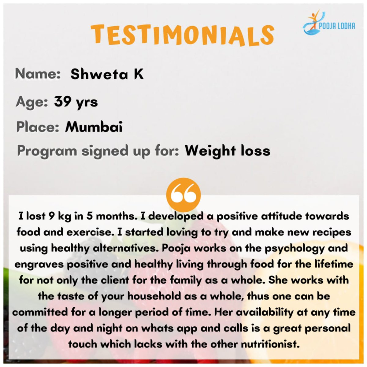 If you wish to be healthy and work on your health journey, connect with us at pooja@myownhealingcircle.com  #testimonials #clientreviews #healthjourney #befit #behealthy #fitnessjourney #fitnesstransformation #weightlossprogram #diabetesmanagement