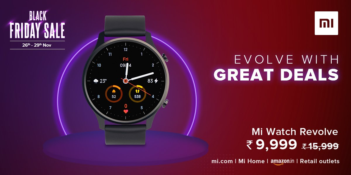 It's Time To Evolve! 😎  Get #MiWatchRevolve at just ₹9,999 this #BlackFridaySale.  Visit - , @amazonIN, @Flipkart or Retail stores.