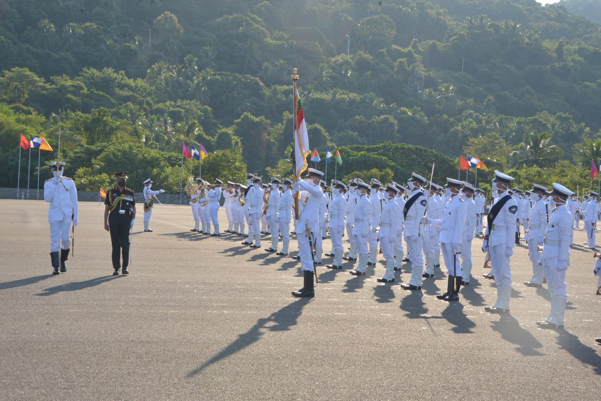 General MM Naravane #COAS reviewed the impressive Passing Out Parade of 99 #INA Course & 30 Naval Orientation Course Extended at Indian Naval Academy #INA, Ezhimala.