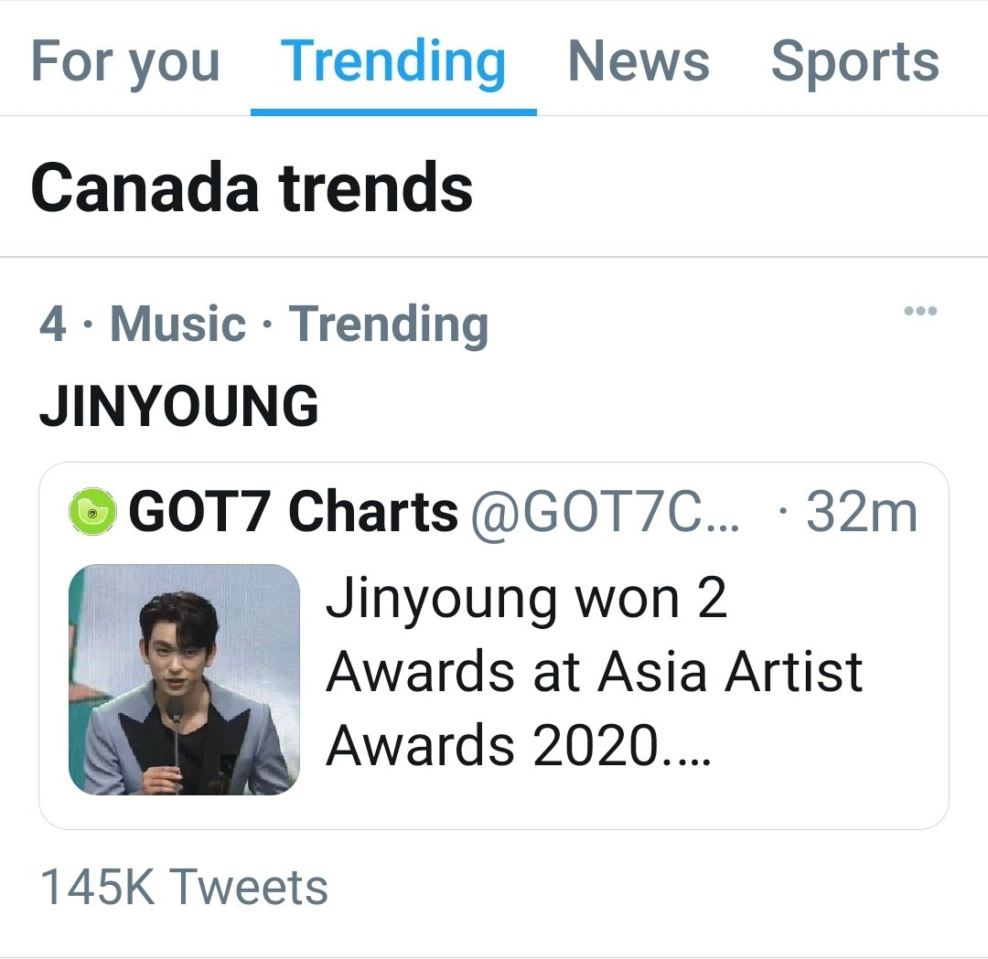 Park Jinyoung trending in Canada  🇨🇦!  So proud!   #GOT7atAAA2020 #박진영_남자배우인기상_축하해 #AAA_PopularActorJinyoung #AAA_PotentialActorJinyoung #GOT7 @GOT7Official