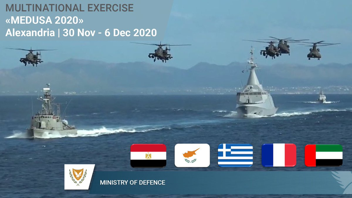 This cooperation is significantly strengthened this year as for the  first time forces from #France 🇫🇷and the #UAE 🇦🇪 will participate.   #Egypt 🇪🇬 🤝 #Greece 🇬🇷 🤝 #Cyprus 🇨🇾 🤝 #UAE 🇦🇪 🤝 #France 🇫🇷 #Medusa2020 #StrongerTogether ☮️✌️🙌🖖 https://t.co/dxu1IiOirw https://t.co/moirSw3Nsz