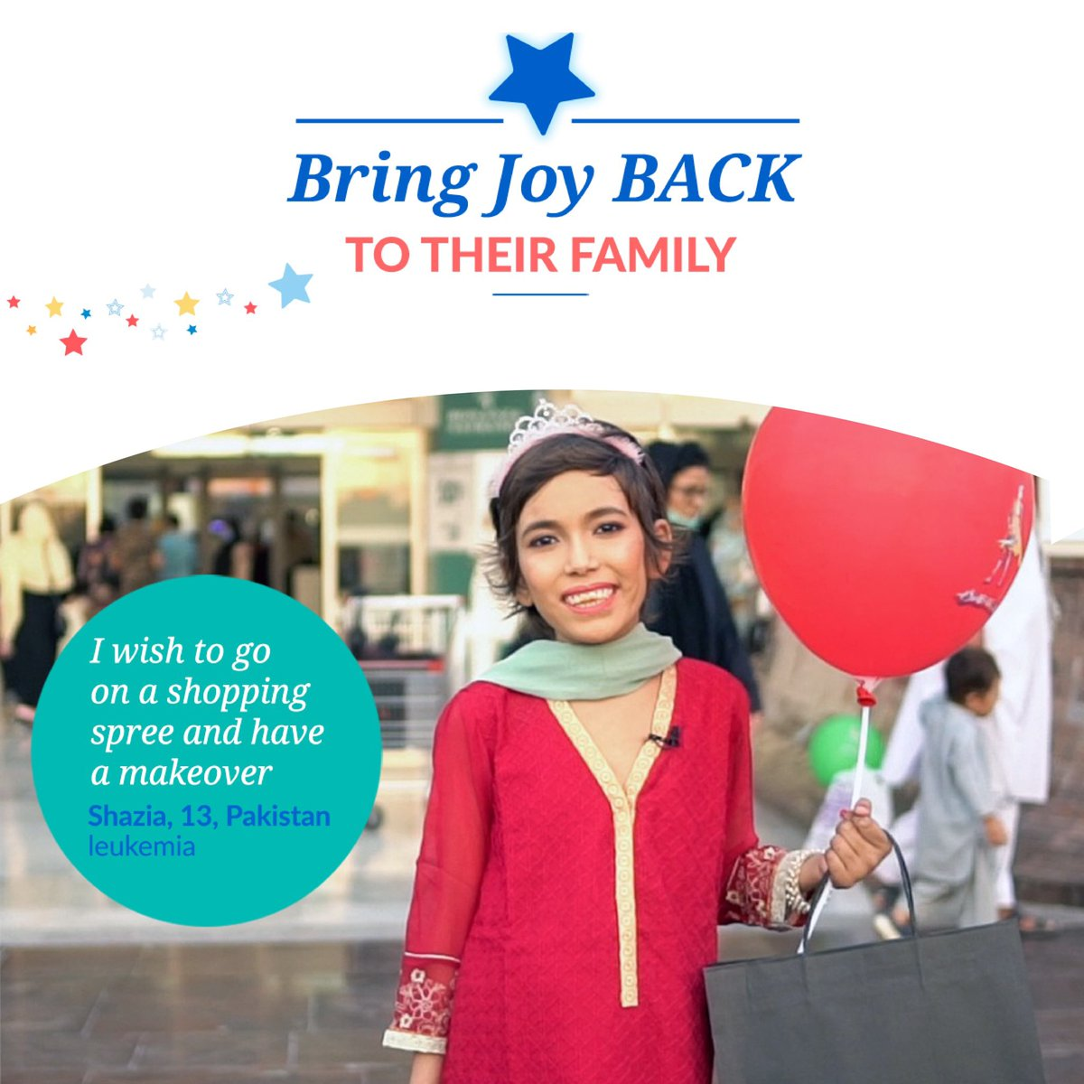 """""""This was the first time in my life that I forgot all about my illness, and I felt like a normal child."""" Shazia said. Make-A-Wish Pakistan granted Shazia's wish to go on a shopping spree and have a makeover.   #BringJoyBACK #makeawish #wishstory"""