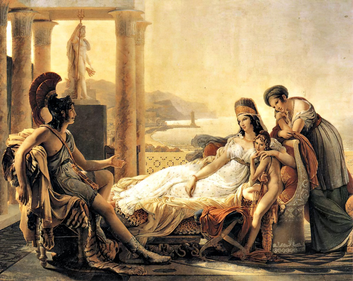 The Trojan hero Aeneas recounting his feats to the Phoenician queen Dido. Oil painting by Pierre-Narcisse Guérin (1815) based on Virgil's Aeneid. Dido, or Elissa, is the legendary founder of #Carthage, #Tunisia, whose story was told in many versions namely by Virgil  #NorthAfrica