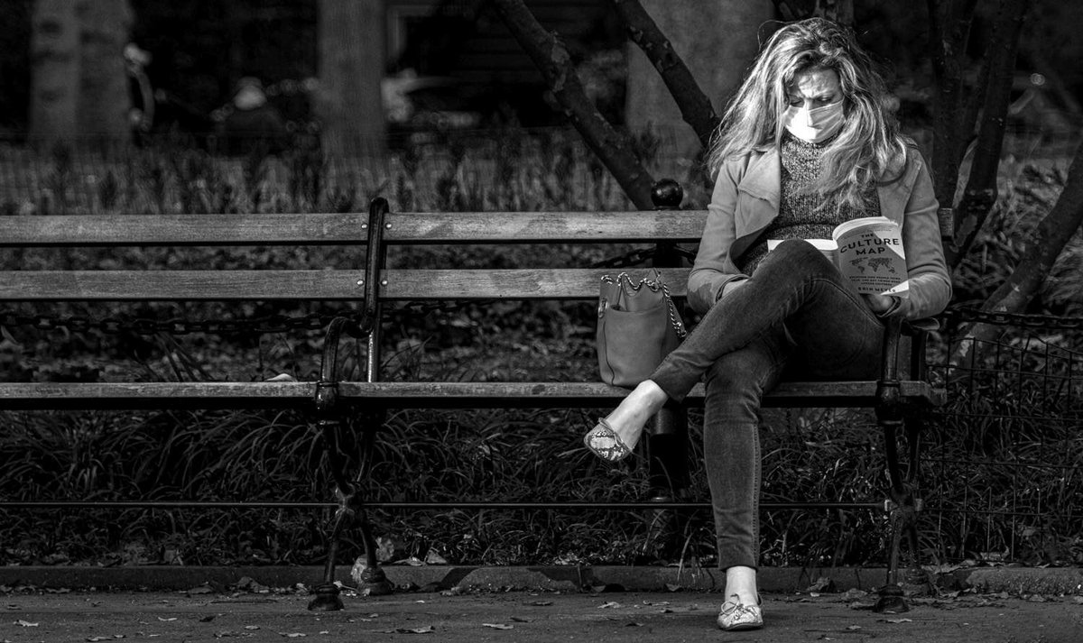Highlighted Passage #FujiXT3 260mm-1/75@ƒ/5.6-ISO1600   #books #reading #streetphotography #Candid #alonetime #masks #covid19 #pandemic #alonetogether #Fujifilm #GreenwichVillage #BlackandWhite #WashingtonSquarePark #citylife #WestVillage #bnw #NewYorkStories #monochrome