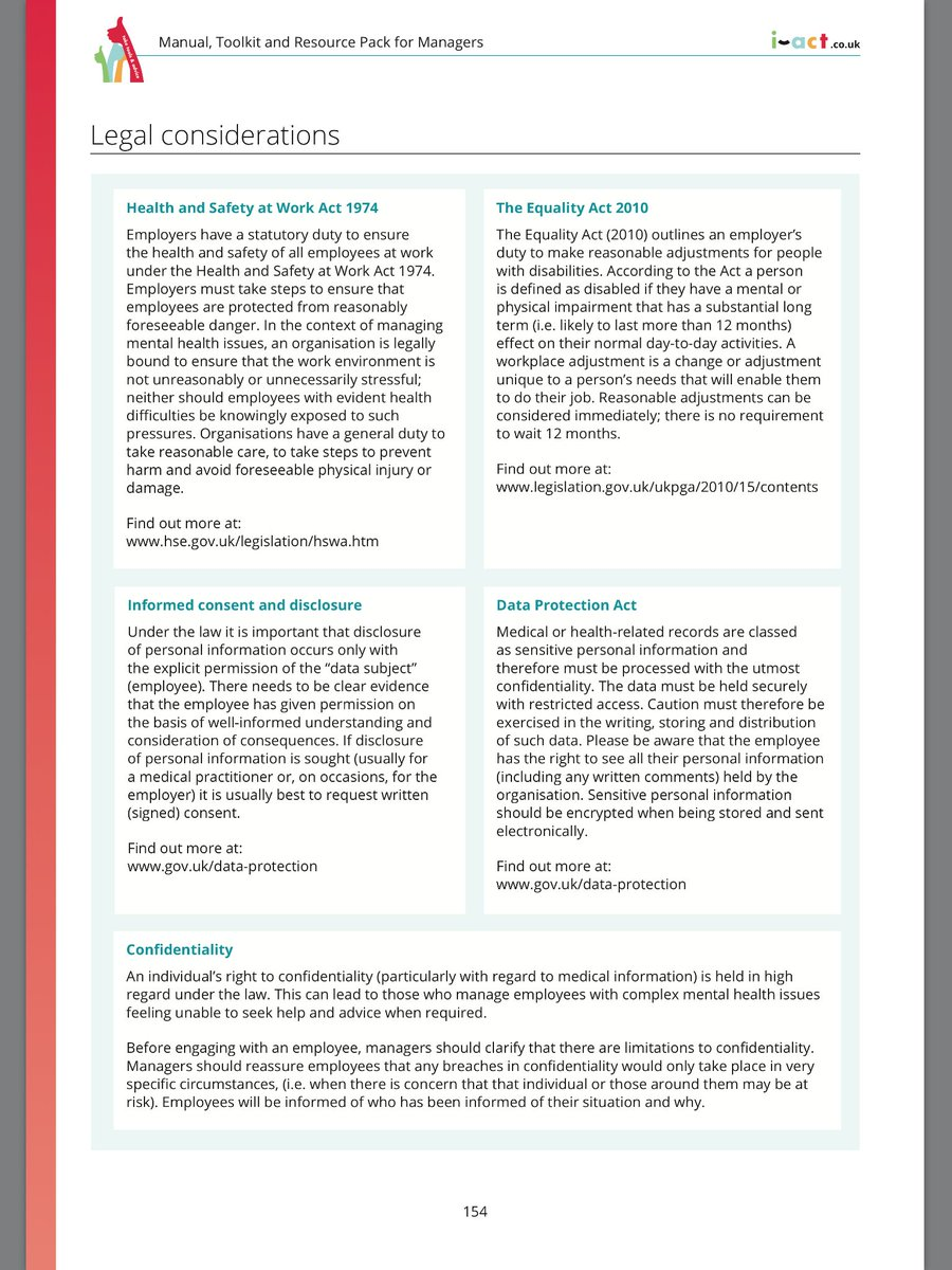 Some managers are still unaware as to the legislation and best practice concerning #mentalhealth and #wellbeing issues at work. Are you fully aware? It's all in the managers 168-page i-act course manual, toolkit and resource kit which comes with the course. Here is an extract....