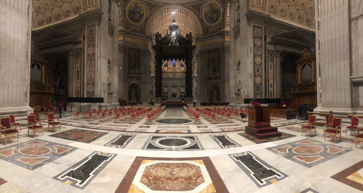 St Peter's Basilica ready for today's consistory where Pope Francis will create 13 new cardinals #consistory #cardinals 📸 Vatican Media