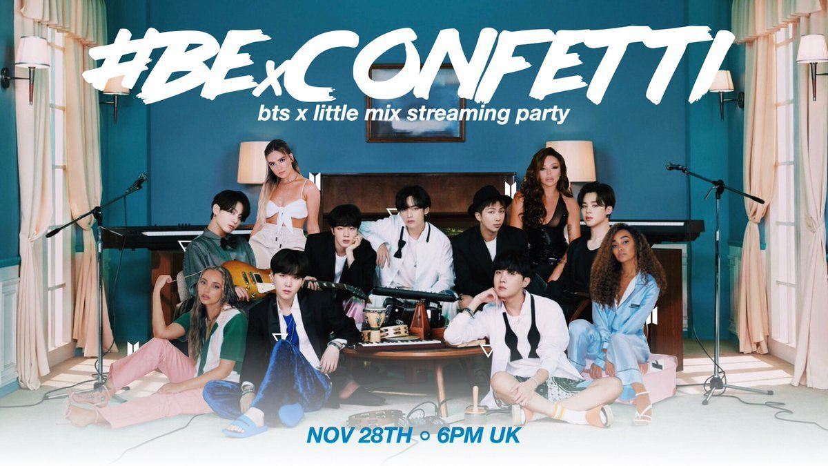 Today's the day!  Are you ready for #BExCONFETTI this evening?  From 6pm-10pm GMT we will be joining Mixers to have a huge streaming party! Here are all the playlists you need, just bring the snacks! See you there!  🌟   #BTS #BTS_BE #LittleMix #Confetti