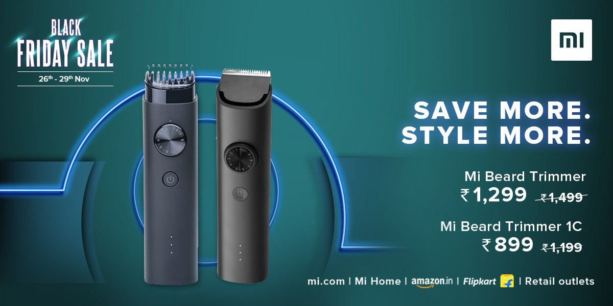 Style your beard right with #MiBeardTrimmer & #MiBeardTrimmer1c.  Grab them at amazing prices on #BlackFridaySale.   Rush to , Mi Home, @Flipkart, @amazonIN, and Retail Stores -