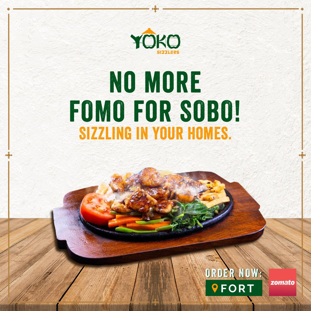 Hey #SouthBombay, we're now sizzling straight to your homes. 😍🏡 . . Place your favourite sizzler orders on @zomatoin and slay your weekend dinners, from the comfort of your home. #OrderNow   We are also open for Dine In. #Fort #Mumbai #Zomato #Order #Food #Sizzlers