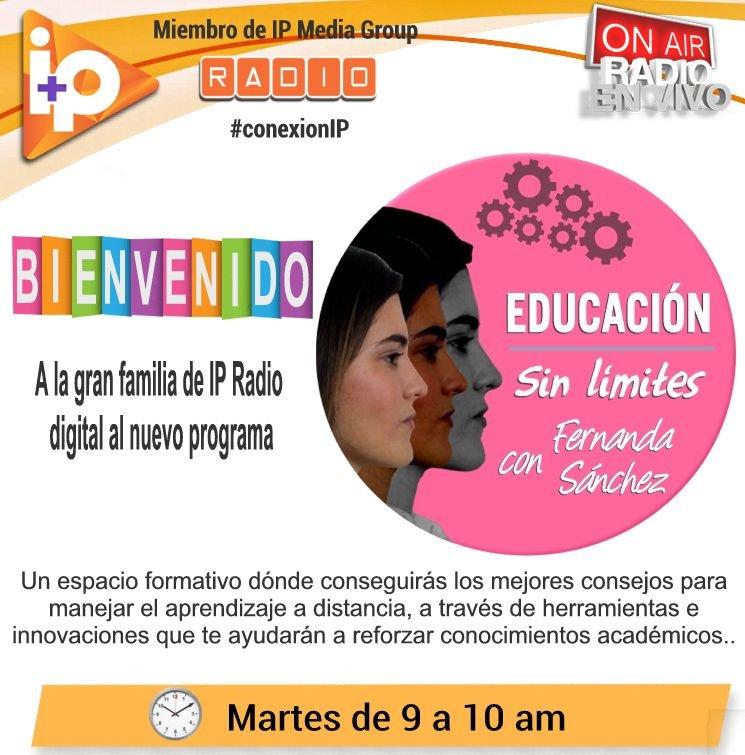 No sé pierdan el gran #estreno de @edu_sinlimit #educacionsinlimites con Fernanda  Sánchez el próximo #1dic a las #9am hora de #venezuela por @ip_radiodigital #conexionip con los mejores #programas de la #radioonline  #bienvenida a la #familia @ip_mediagroup #somosmasqueunaradio