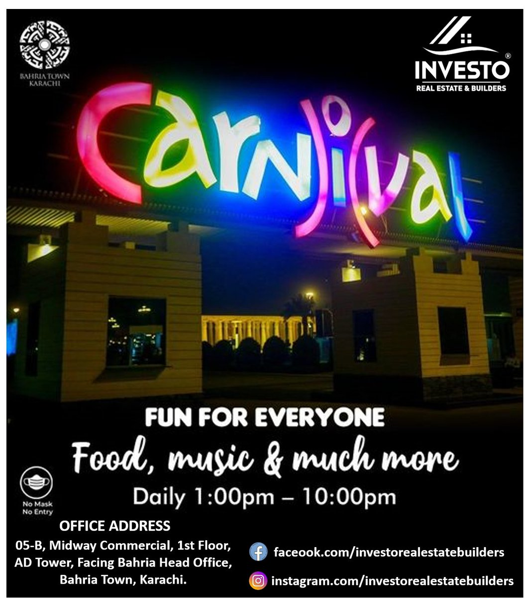 """Nothing compares to the luxury of quality time with the family combined with an ultimate enjoyment at the """"Carnival Area"""" Bahria Town Karachi #HappyWeekend #CarnivalArea #Fun #Food #Entertainment #BahriaTown #Karachi #BahriaTownKarachi"""